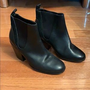 Cole Haan Black Leather Suede Booties